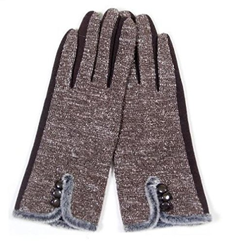 Womens Fashion Smart Glove - with Buttons (Coffee)