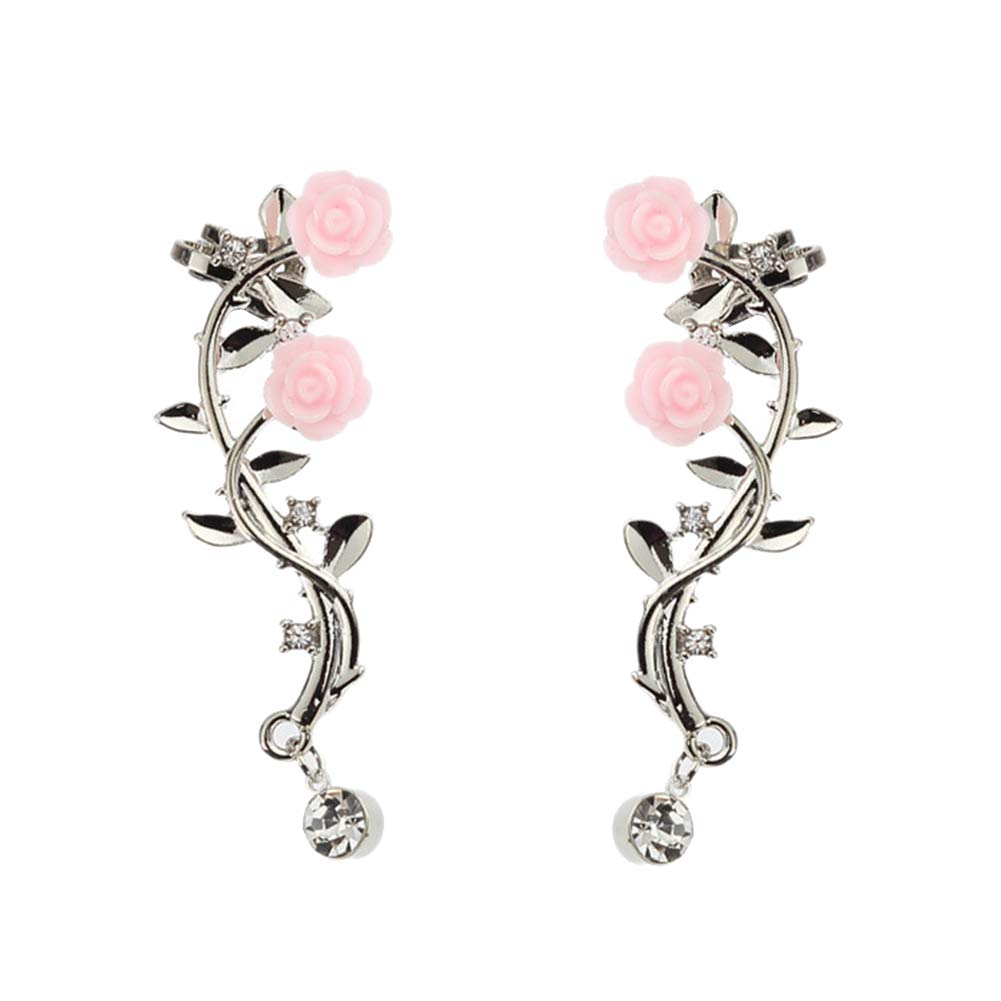 Afco Women Rose Flower Branch Rhinestone Climber Crawler Earrings Ear Stud Silver
