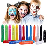 Luxbon 12 Colors Face Paint Crayons for Kids, Non-Toxic Face Body Painting Kit, Washable Face Paint Sticks Set, Ideal for Face and Body Painting, Halloween, Makeup Cosplay Parties