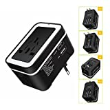 JIGUOOR Travel Adapter,Universal International lightweight Outlet Worldwide Travel Adaptor Wall Charger AC Power Plug Charging with Dual USB Ports 2.4A Plug Converter For USA UK EU AUS Europe Asia