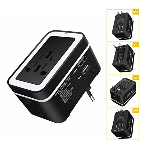 Universal Travel Adapter, ELEGIANT All In One International Power Converter Worldwide Wall Charger AC Power Plug with Dual USB Charger Ports for AU EU UK US Black - Built-in Spare Fuse (Power Converter World)