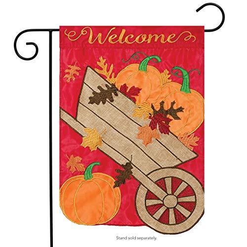 "Welcome Wheelbarrow Applique Garden Flag Embroidered Autumn 2 Sided 12.5"" x 18"""