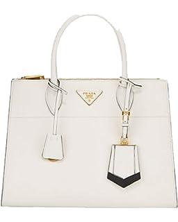 4e5b8a116f95 Prada Saffiano City Leather Cross body Tote Handbag White with Black Trim  1BA102