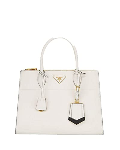 e511e1ff1c Image Unavailable. Image not available for. Color: Prada Saffiano City  Leather Cross body Tote Handbag White with Black Trim 1BA102