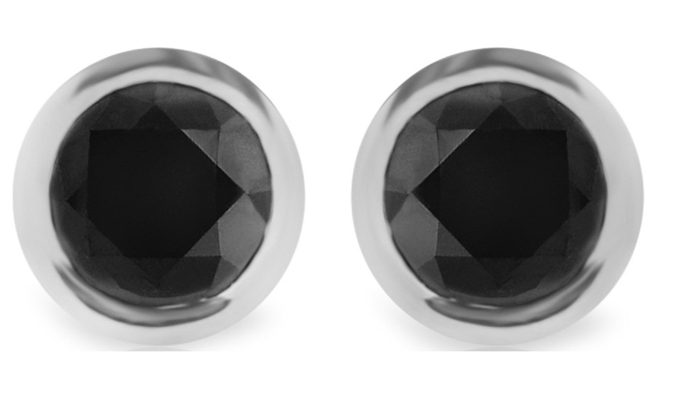 0.18Ct Round Bezel Set Black Diamond Stud Earring With Screw Back, White Gold Plated Silver