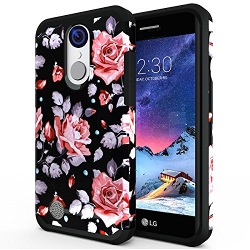 LG Aristo 2/LG Tribute Dynasty/LG Zone 4/LG Fortune 2/Risio 3/Rebel 3 LTE Phone/K8 2018/K8+ Plus/Rebel 2/Phoenix 3/Fortune/Risio 2 Case, OEAGO Hybrid Shockproof Drop Protection Armor Cover (Flower) (Phoenix Flower)