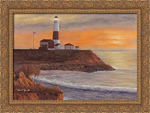 Montauk Lighthouse Sunset 24x17 Gold Ornate Wood Framed Canvas Art by Romanello, Diane
