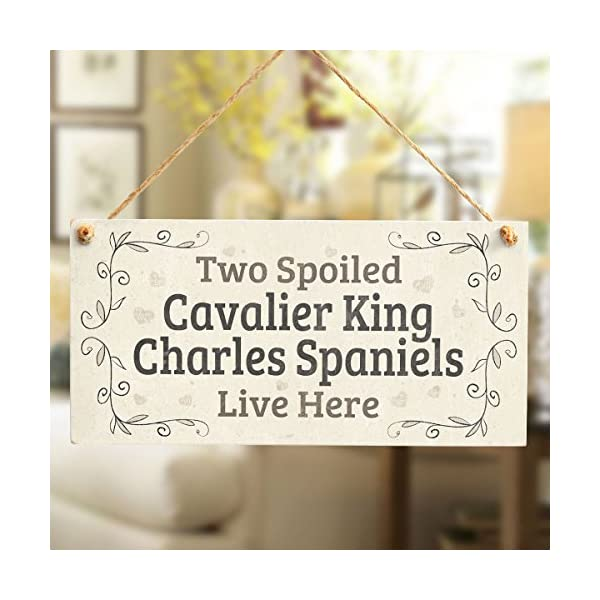 Two Spoiled Cavalier King Charles Spaniels Live Here - Lovely Small Dog Sign/Plaque for Spaniel Dog Gifts 2
