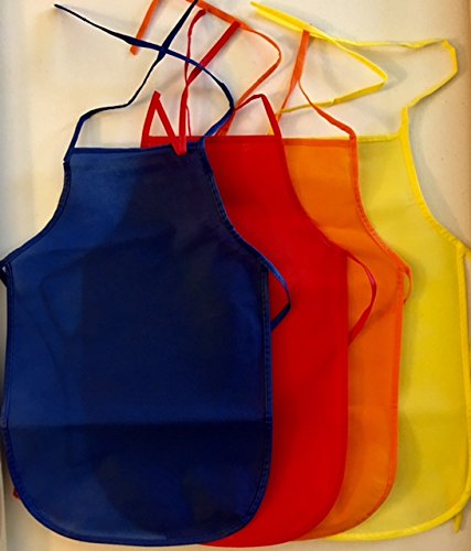 Max Assorted Children's Artists Aprons for Kitchen or Classroom (Pack of 12)