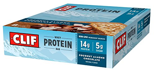 CLIF Whey Protein - Snack Bar - Coconut Almond Chocolate - 1.98 Ounce Complete Protein Bar, 8 Count