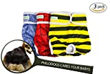 Philodogs Washable Dog Diapers Sanitary Wraps Panties for Female and Male Pets with Strong & Flexible Velcro 3 Colors Large