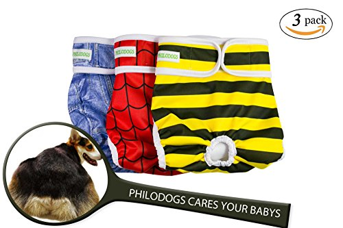 Philodogs Washable Dog Diapers Sanitary Wraps Panties for Female and Male Pets with Strong & Flexible Belt 3 Colors Large ()