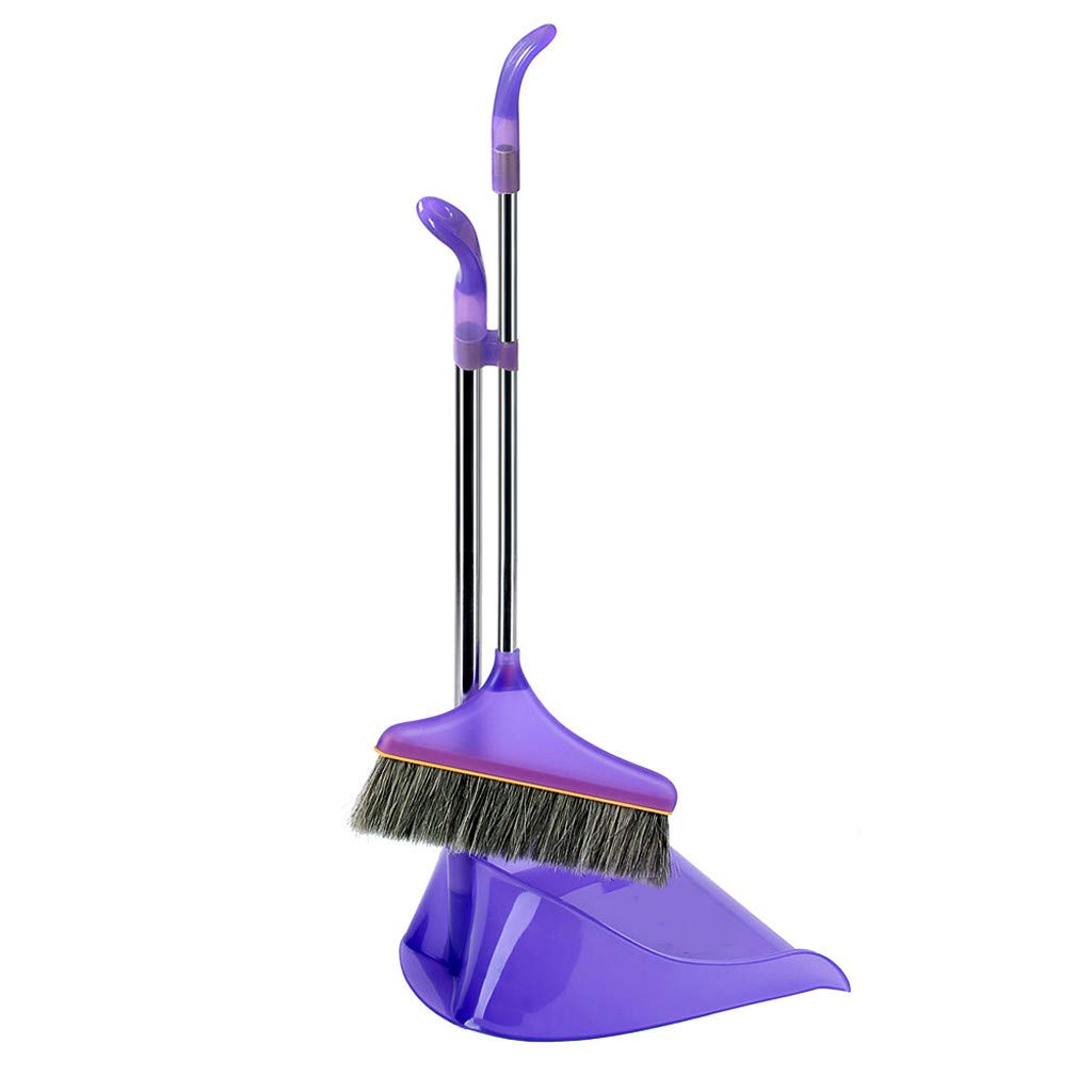 Anferstore Comfort Grip Duster and Dustpan Set for Home Kitchen Room Office Lobby Floor Use Upright Stand up Sweep Set (Purple)