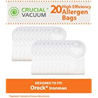 20 Replacements for Oreck XL Ironman Bags, Compatible With Part # PKIM765 & 61963, by Think Crucial