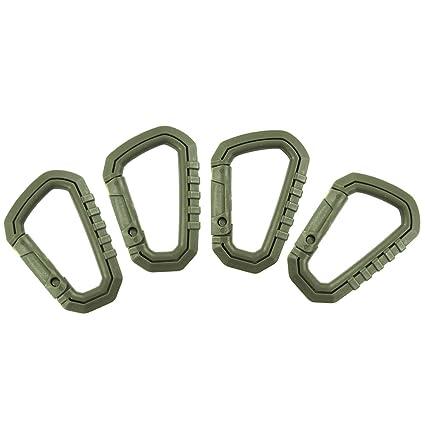 Pack de 4 ligero gancho para colgar Outdoor Tactical D-Ring mosquetón táctico Link Snap Llavero Mochila accesorios, mujer hombre, B