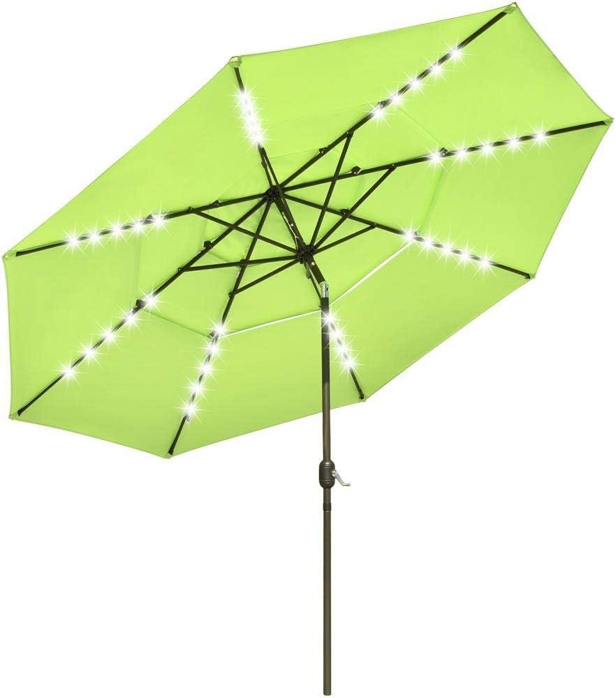 Chi Mercantile 11 Feet Vented Umbrella with 40 LED Solar Light Bars 3-Tier Tilt System (Apple Green)