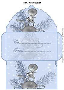 Silver on azul adorno dinero regalo cartera por Julie Hill