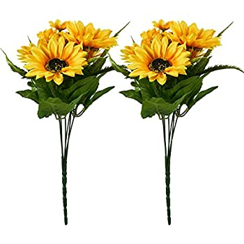 Amazon juvale artificial sunflowers 2 bunches sunflower juvale artificial sunflowers 2 bunches sunflower bouquet in yellow fake flowers artificial plant for mightylinksfo