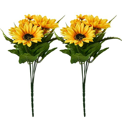 Juvale Artificial Sunflowers - 2 Bunches Sunflower Bouquet in Yellow - Fake Flowers Artificial Plant for Home Decor, Wedding, Party, Patio (Bouquet Artificial Sunflower)