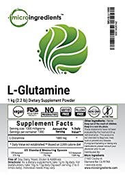 Micro Ingredients Pure L-Glutamine Powder, 1 Kg (2.2 lb), USP Pharmaceutical Grade