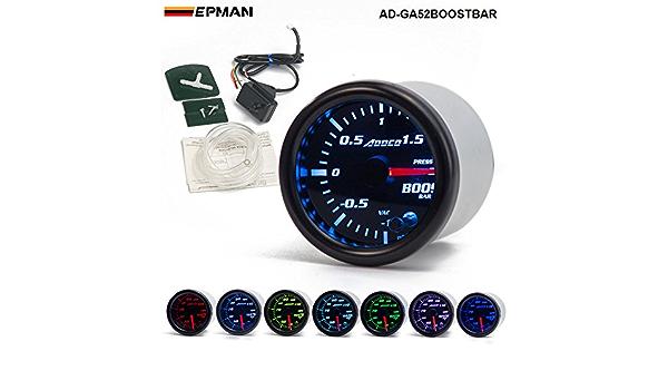 Epman 2 52 Mm 7 Color Led Humo Cara Coche Auto Bar Turbo Boost Gauge Medidor Con Sensor Y Soporte Amazon Es Coche Y Moto