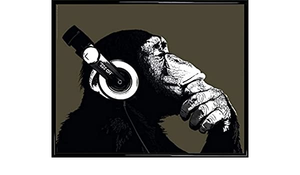 Amazon.com: 1art1 Monkeys Mini Poster and Frame (Plastic) - The Chimp Stereo (20 x 16 inches): Posters & Prints