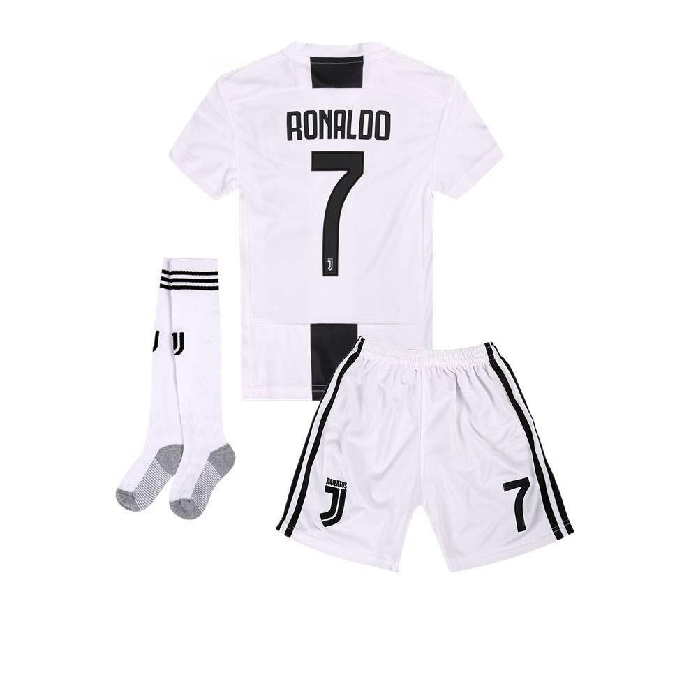 pretty nice 00af2 35d62 AYCJK33 Juventus Ronaldo #7 Kids/Youth Home Soccer Jersey & Shorts & Socks  2018-2019 Black/White