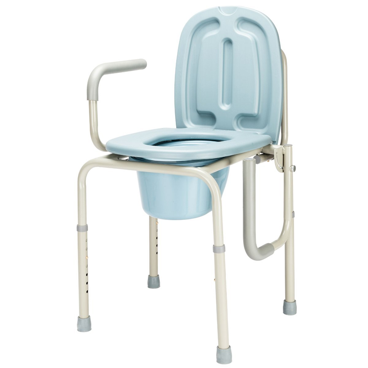 450lbs Folding Handicapped Bath Chair Disabled Toilet Potty Chair Height-Adjustable Elderly Seat Drop Arm Medical Beside Commode Chair Homecare Toilet Bath Show Seat