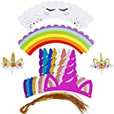 BBTO 24 Pieces Unicorn Party Horn Hats with 24 Pieces Double Sided Unicorn Cupcake Toppers and Wrappers Set for Party Decorations Supplies