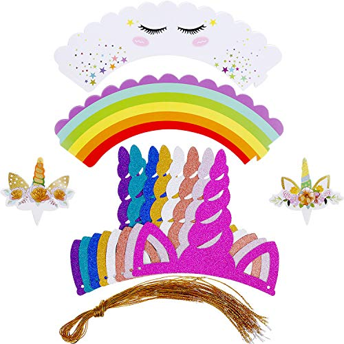 BBTO 24 Pieces Unicorn Party Horn Hats with