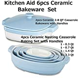 KitchenAid 4pc Ceramic Nesting Casserole Dishes Baking Set Cooking Pans Handles & Streamline Ceramic 2PCS 2.8-Quart Casserole Bakeware BUNDLE Total 6PCS