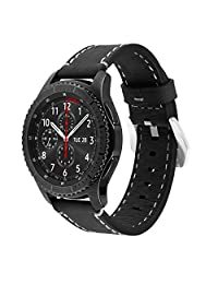 Gear S3 Frontier/Classic Watch Band, iitee 22mm Vintage Genuine Leather Watch Band Replacement for Samsung Gear S3 Classic, Gear S3 Frontier, Sports (leather band-black)