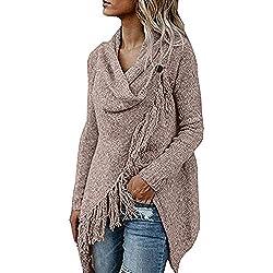 Sunhusing Ladies Solid Color Tassel Embellished Long Sleeve Long Shawl Jacket Loose Irregular Sweater Blouse