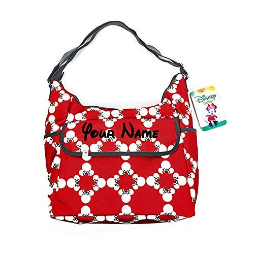 Personalized Disney Minnie Mouse Classic Carryall Red White and Grey Print Multi-Pocket Baby Girl Hobo Tote Bag Diaper Bag Gift Set - 3 Piece Set ()