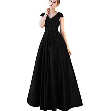 Lemai A Line V Neck Beaded Lace Long Prom Dresses Formal Evening Party Gowns Black US