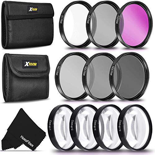 Ultimate 10pc 52MM Professional FILTERS KIT including: 52mm HD filters (UV CPL FLD) + 52mm ND Neutral Density Filters (ND2 ND4 ND8) + 52mm Close-up Macro Filters (+1 +2 +4 +10) + Filters Case