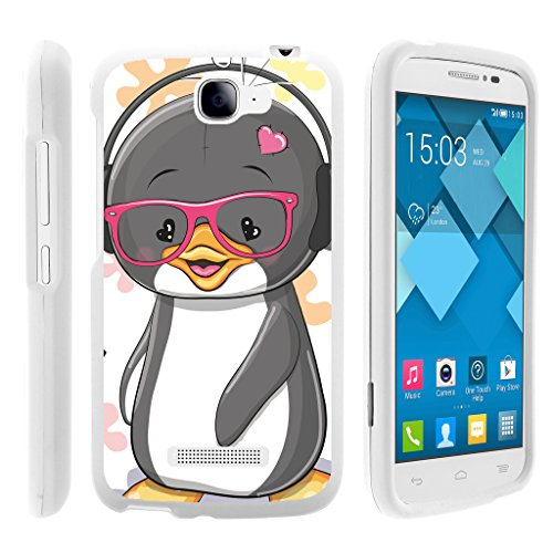 Alcatel One Touch Fierce 2 Case | POP Icon Case [Slim Duo] Hard Shell Snap On Case Fitted Protector Matte on White Sea Ocean Design by TurtleArmor - Cute Penguin