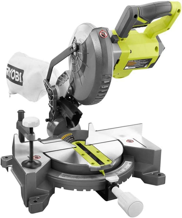 Ryobi 18 Volt One Cordless 7 1 4 In Compound Miter Saw Tool Only With Blade Amazon Com