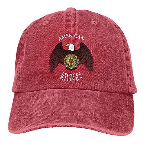 Ejiazhan7 American Legion Riders Retro Adjustable Cowboy Denim Hat Unisex Hip Hop Red Baseball Caps ()