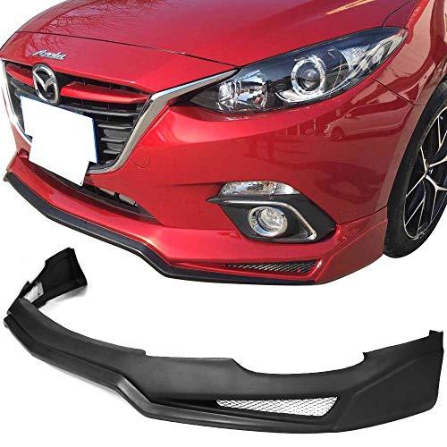 Front Bumper Lip Fits 2014-2016 Mazda 3 | V3 Style PP Unpainted Black Air Dam Chin Diffuser Lip By IKON MOTORSPORTS | 2015 2016