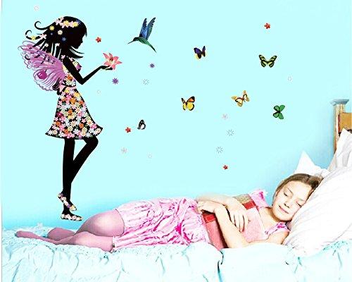 Engel Fee Schmetterlinge Bird Vinyl Wand Aufkleber Home Aufkleber Papier abnehmbarer Living Eßzimmer Schlafzimmer Kitchen Art Bild Wandmalereien DIY Stick Mädchen Jungen Baby Kinderzimmer Spielzimmer Dekoration