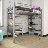 DHP Studio Loft Bunk Bed Over Desk and Bookcase with Metal Frame, Twin