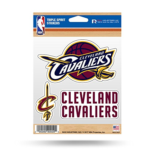 Cleveland Cavaliers Logos (NBA Cleveland Cavaliers Triple Spirit Stickers, Maroon, White, Yellow, 3 Team Stickers)