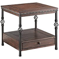 Stein World Furniture Sherwood Square End Table, Poplar, Metal