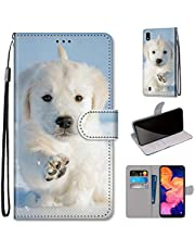 Miagon Full Body Case for Samsung Galaxy A10,Colorful Pattern Design PU Leather Flip Wallet Case Cover with Magnetic Closure Stand Card Slot,Snow Dog