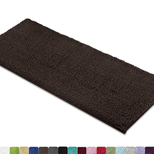 Mayshine Bath Mat Runners For Bathroom Rugs Long Floor Mats Extra Soft Absorbent Thickening Shaggy Microfiber Machine Washable Perfect For Doormats Tub Shower 27 5x47 Inches Brown