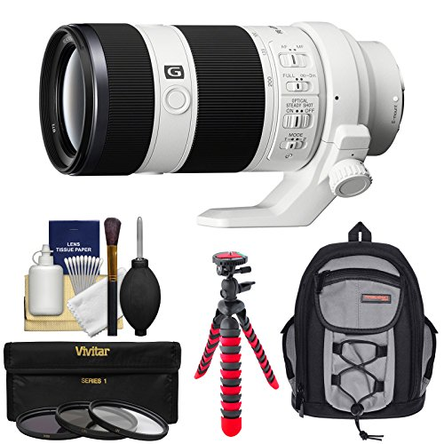 Sony Alpha E-Mount FE 70-200mm f/4.0 G OSS Zoom Lens with Backpack + 3 Filters + Flex Tripod + Kit for A7, A7R, A7S Mark II Cameras (Sony Fe 70 200mm F4 G Oss)