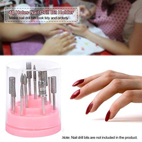 Baomabao 48Hole Nail Drill Bit Holder Stand Pink Organizer Manicure Box ()