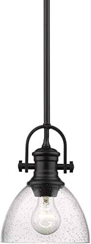 Golden Lighting 3118-M1L BLK-SD Hines Mini Pendant, Matte Black with Seeded Glass