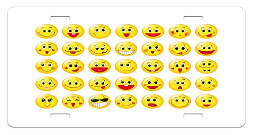 Emoji License Plate by Ambesonne, Funny Yellow Heads Various Facial Expressions Round Shapes Happy Sad Laughing, High Gloss Aluminum Novelty Plate, 5.88 L X 11.88 W Inches, Yellow Red - Shape Round Facial